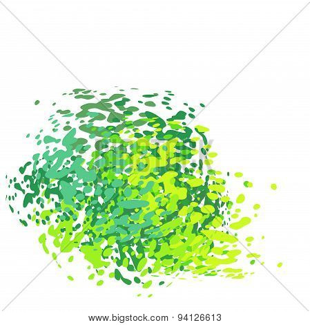 Abstract Liquid Green Drip Splatter Silhouette On White