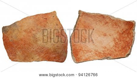 Arizona Anasazi pottery shard, ancient Native American Indian artifact, two sides of a large bowl fragment, isolated on white