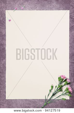 Empty White Paper And Pink Carnation On Violet Floor