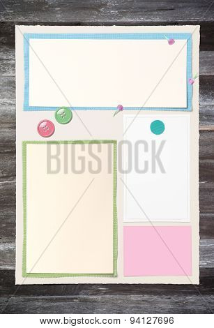 Blank Paper Page Layout On Old Wooden Table For Put The Somthing