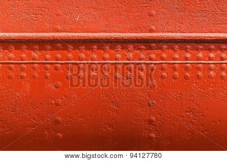 Red Metal Wall Texture With Seams And Rivets