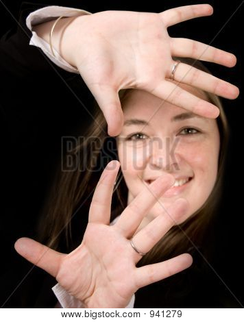Business Woman With Hands On Screen