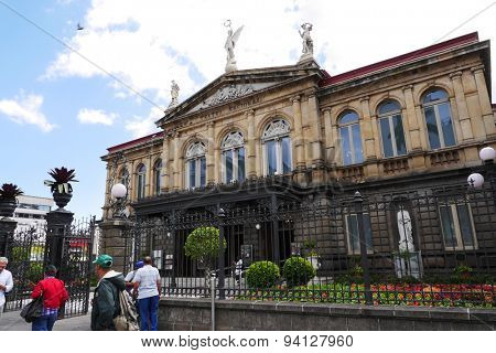 SAN JOSE, COSTA RICA-MARCH 3, 2015:  The National Theater in Costa Rica first opened to the public in 1897.  It remains a top tourist destination today.