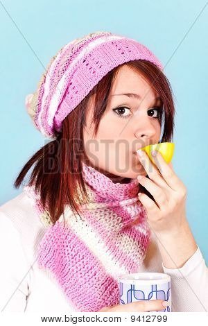 Cold Winter With Tea And Lemon