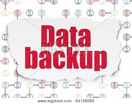 Information concept: Data Backup on Torn Paper background