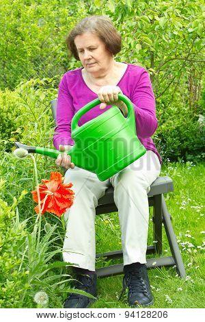 Senior woman in a garden