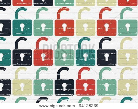 Data concept: Opened Padlock icons on wall background
