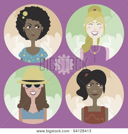 Set Of Four Cartoon Avatars - Girls 02