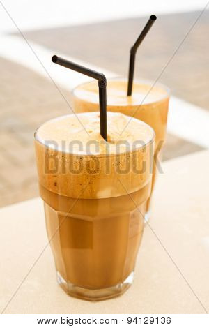Two glasses of Greek frappe