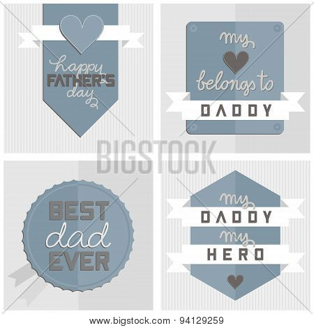modern happy Fathers Day card set