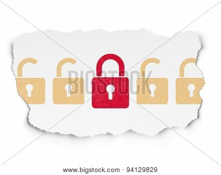Safety concept: closed padlock icon on Torn Paper background