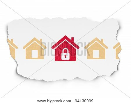 Safety concept: home icon on Torn Paper background