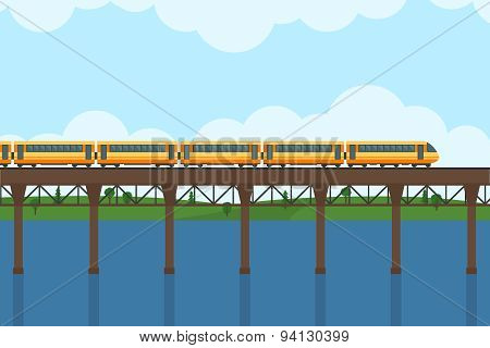 Train on railway and bridge.