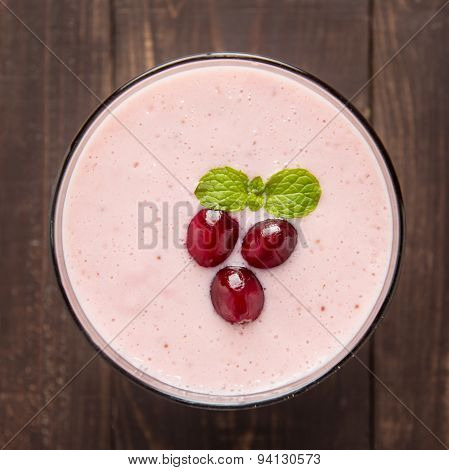 Cranberry Fruit Smoothie On Wooden Background, Healthy Eating.