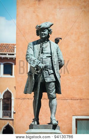 Statue of Carlo Goldoni in Venice, Italy