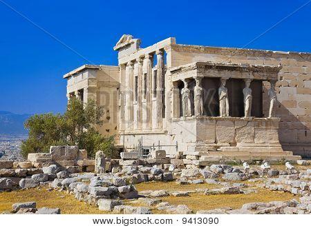 Erechtheum Temple In Acropolis At Athens, Greece