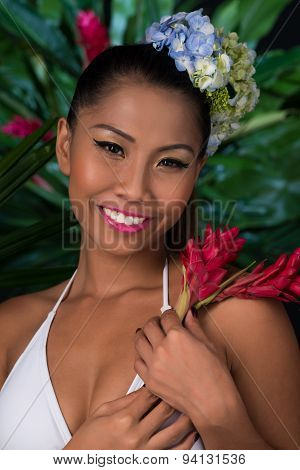 Filipina With Red Ginger Flower