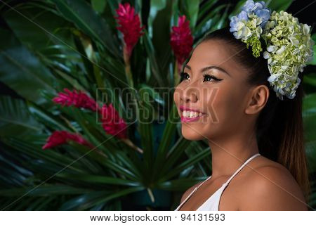 Young Woman In Tropical Forest