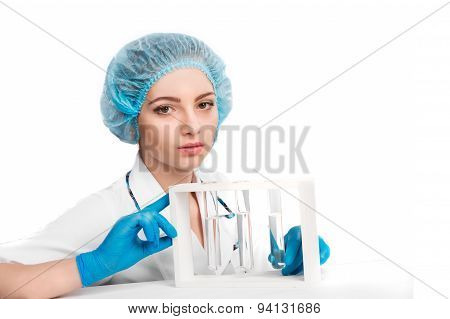 Doctor  Holding  Vial