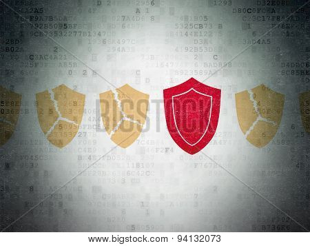 Protection concept: shield icon on Digital Paper background
