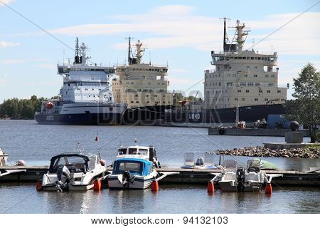 HELSINKI, FINLAND - JUNE 5, 2015: Photo of three icebreakers docked in the port