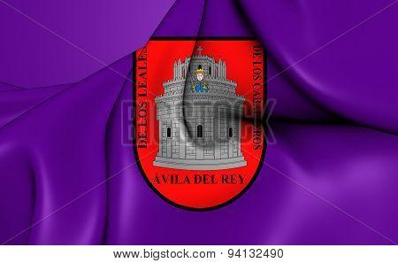 Flag Of The Avila City, Spain.