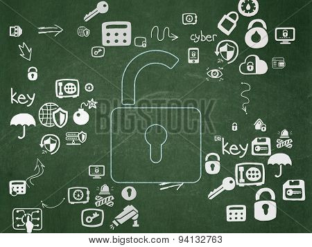 Protection concept: Opened Padlock on School Board background