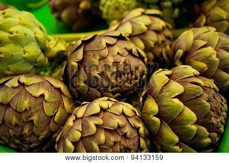 Pile Of  Artichokes At The Farmers Market