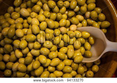Fresh Green Olives Sold At Market