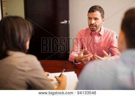 Young Man During A Job Interview