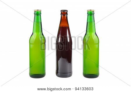 Glass, Pint And Bottles Of Beer Isolated