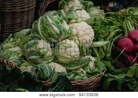 Basket With Cauliflower Sold At Market