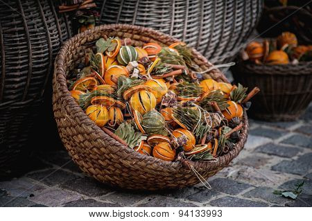 Dried Fruits  In Basket Sold At Market