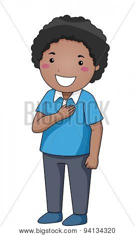 Illustration of a Little Boy with His Hand Pressed Against His Chest