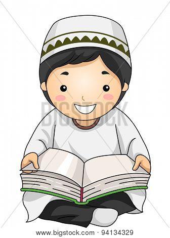 Illustration of a Little Muslim Boy Reading the Quran