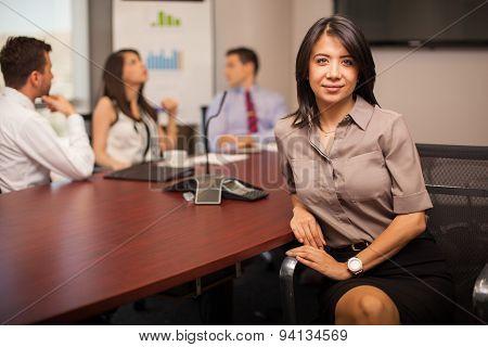 Pretty Businesswoman In An Office