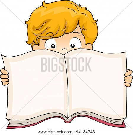 Illustration of a Little Boy Holding a Book Wide Open
