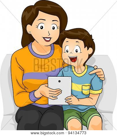 Illustration of a Mother Teaching Her Son How to Use a Tablet