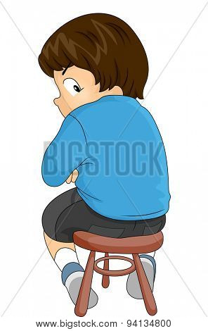 Illustration of a Scared Little Boy About to Have an Injection
