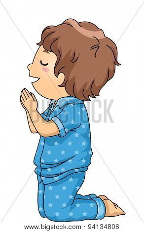 Illustration of a Boy in Pajamas Praying Before Going to Bed
