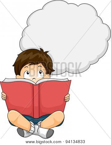 Illustration of a Little Boy Reading a Book While a Thought Bubble Hovers Above Him