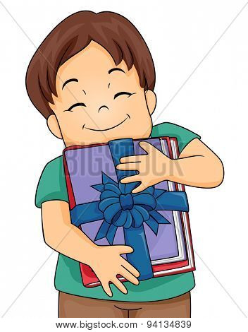 Illustration of a Little Boy Hugging a Stack of Books Given to Him as a Present