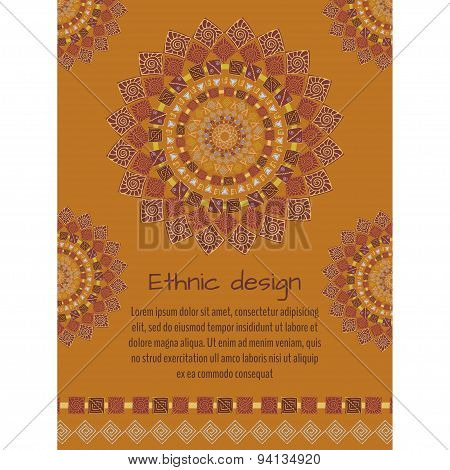 Ethnic Background With Place For Text. Ancient American Indian Pattern