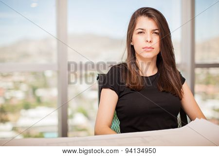 Serious Woman In An Office