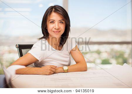 Beautiful Latin Woman At Work