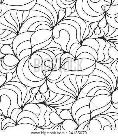 seamless wave background of doodle drawn lines
