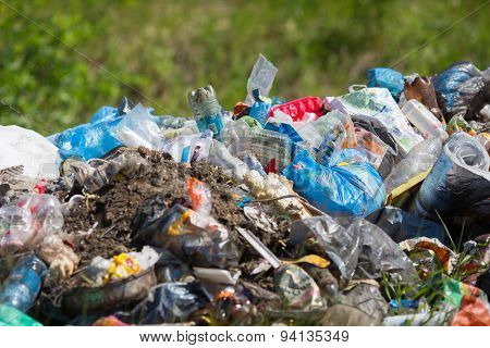 KOLAROVO, RUSSIA - JUNE 21, 2015: Heap of garbage in forest in summer day. Environmental pollution example.