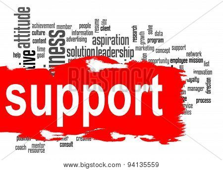 Support Word Cloud With Red Banner