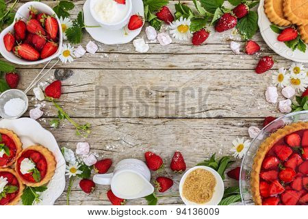 Strawberry - the delights of strawberries, tart and cake, frame