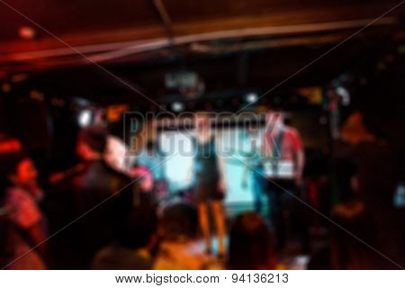 Musical band performing live blur background